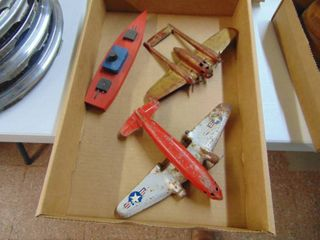 2 Metal planes and Wooden Boat