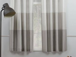 Set of 2 84 x54  Chateau Striped Faux Silk Grommet Top Window Curtain Panels light Gray   Exclusive Home