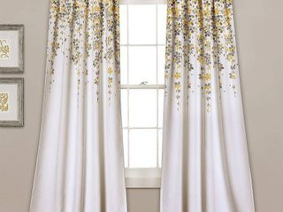 Weeping Flower Room Darkening Window Curtain Panels Yellow Gray 52x95 2 Set