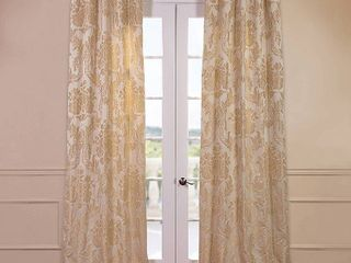 Half Price Drapes Magdelena Faux Silk Jacquard Curtain Panel 2 pc
