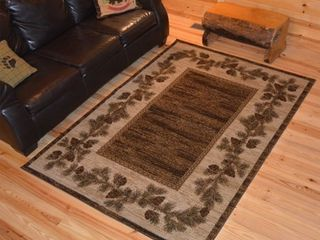 Rustic lodge Pine Cone Border Cabin Brown Area Rug  2 2 x 3 3    2 3  x 3 3