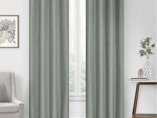 108 x50  Kira Herringbone Absolute Zero Blackout Window Panel Green   Eclipse 2 pc
