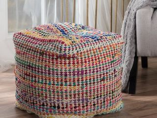 Madrid Handcrafted Boho Fabric Pouf by Christopher Knight Home  Retail 97 99