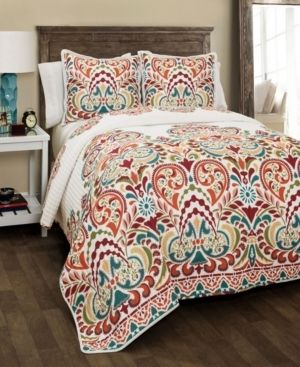 The Curated Nomad la Boheme Damask 3 piece Quilt Set  Retail 144 97