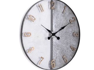 The Gray Barn Wooly Ward Galvanized Silver Oversized Wall Clock  Retail 137 99