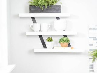 Del Hutson Industrial Grace Three Tiered Floating Shelf white