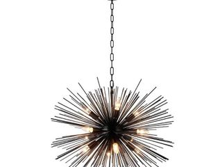 12 light Sputnik Chandelier in Black finish   29 40Wx29 40lx21H in  Retail 336 62