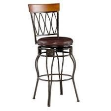 29  Four Oval Bar Stool with Upholstered Seat Brown Metal   linon