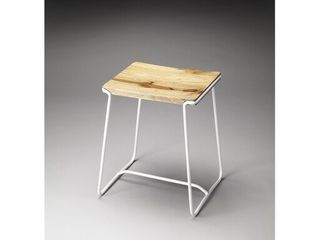 Handmade Butler Parrish Wood and Metal Stool  India  Retail 149 99