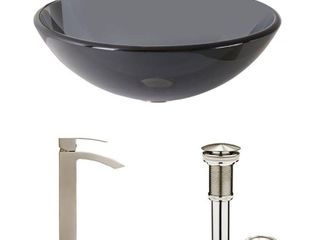 VIGO Sheer Black Glass Vessel Bathroom Sink only Retail 262 49
