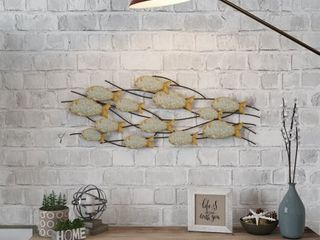 The Gray Barn Metal Fish Wall Decor   16 5 H x 43 W x 2 D