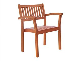 Vifah Set of 2 Stacking Eucalyptus Wood Dining Chair   Brown