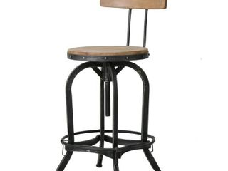 Paisley Naturally Antique Fir Wood Barstool With Backrest  Retail 123 27