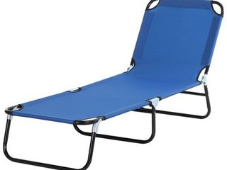 Outsunny 3 Position Adjustable Backrest Chaise Chair lounger with lightweight Frame Great for Pool or Sun Bathing blue