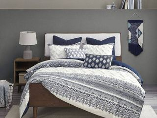 The Curated Nomad Natoma Navy Cotton Chenille Printed Comforter Set  Retail 109 99
