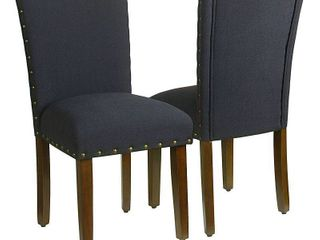 HomePop Classic Parsons Chair with Nailhead Trim   Deep Navy  set of 2  Retail 209 99
