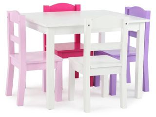 Friends Collection Kids Wood Table   4 Chairs Set  White Pink Purple   Multi  Retail 108 99