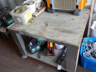 steel work table with wood top and ...