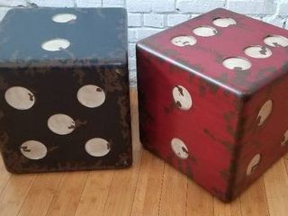 Fun Distressed Dice Cube Accent Tables
