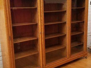 Antique Tiger Oak Glass Front Bookcase