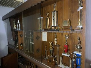 Trophy Case Full of Vintage 50's 60's 70's Trophies