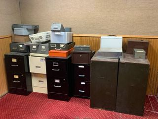 Large Lot of File Cabinets, Cash Boxes, Misc.