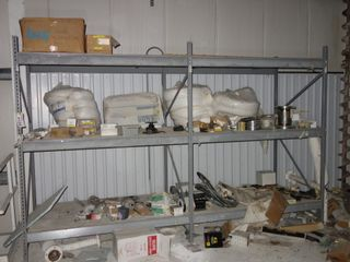 2 SECTIONS OF STEEL SHELVING (EXCLUDING CONTENTS)