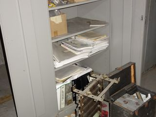 CABINET WITH ELECTRICAL CONTENTS, GE BREAKER, PARTS, RECORDERS