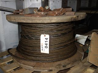 SPOOL OF BRAIDED STEEL ROPE CABLE