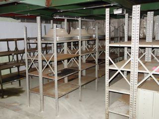 3 ROWS OF STEEL SHELVING, APPROX 18FT LONG, 4FT HIGH