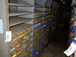 CONTENTS OF 7 SECTIONS OF SHELVING & FLOOR, RELAYS