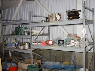 2 SECTIONS OF STEEL SHELVES / RACKING (EXCLUDING CONTENTS)