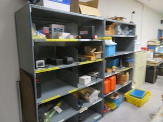 Storage Shelves and contents (2) Lot except Simplex Jack