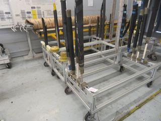 Aluminum Parts Carts on Wheels, (3) Lot