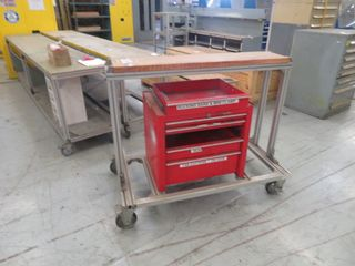 Craftsman Tool Box and Aluminum Cart on Wheels