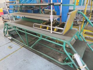 Steel Platform on wheels, Steel Steps, etc (lot)