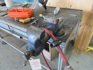 Wilton Vice and Aluminum Table on wheels (1) vice