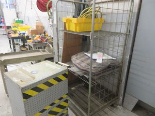 Metal Cage on wheels, cart and contents