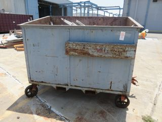 Metal Scrap Bin on Wheels