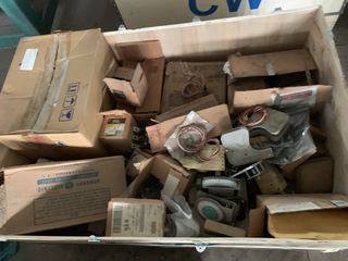 CRATE OF MISC. ELECTRICAL AUTOMATION EQUIPMENT GENERAL ELECTRIC ETC.