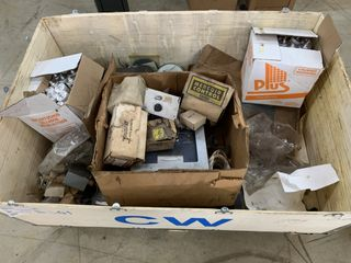 CRATE OF MISC. ELECTRICAL AUTOMATION EQUIPMENT WESTINGHOUSE ETC.