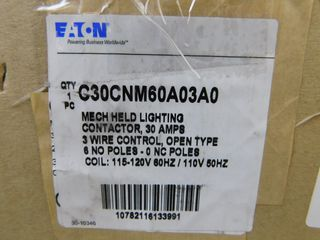 (1) Eaton C30CNM60A03A0 Lighting Contactor 6P 30A 120VAC 50/60Hz