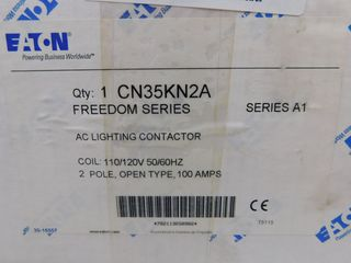 (2) Eaton CN35KN2A Lighting Contactor Open 2P 100A 110/120VAC 50/60Hz