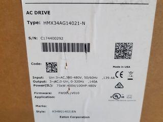 (1) Eaton HMX34AG14021-N VFD 140A 100HP 75KW 400V