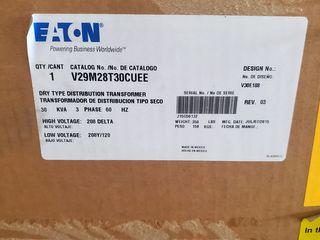 (1) Eaton V29M28T30CUEE Transformer 30 KVA, 3PH
