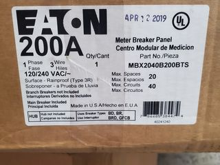 (1) Eaton MBX2040B200BTS Meter Breaker 200A 120/240VAC 1Ph 3Wire 4Jaws NEMA Type 3R 20 Spaces, 40 Circuits