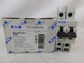 (70) Eaton FAZ-C6/2-RT-L Plug In FAZ 2P 6A 120/240VAC 50/60Hz