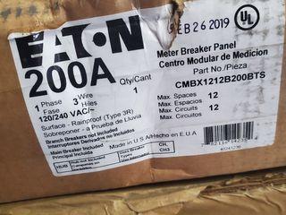 (1) Eaton CMBX1212B200BTS Meter Breaker Panel Type CH 200A 120/240VAC 1Ph