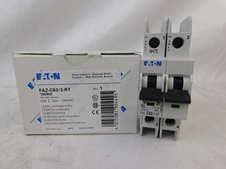 (20) Eaton FAZ-C63/2-RT Plug In FAZ 2P 63A 277/480Y 50/60Hz