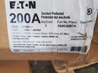 (1) Eaton 1006388CH Meter Socket 100/200A Pedestal